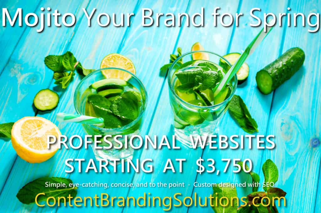 Mojito your brand for Spring - Two fresh mint Mojitos and a Caribbean blue background by ContentBrandingSolutions.com